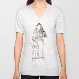 Native American Woman Warrior with tomahawk Unisex V-Neck