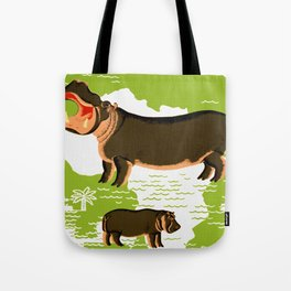 Vintage African Hippo Zoo Ad Tote Bag