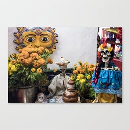Day of the Dead Altar with Skeleton Couple & Tarot Cards Canvas Print