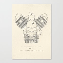 Moto Guzzi engine poster, man cave stuff, motorbike, motorcycle, garage, café racer, scrambler Canvas Print