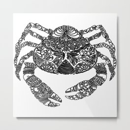 Black and White Crab Artwork Metal Print