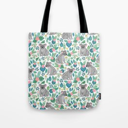 Cute gray koalas with ornaments, tropical flowers and leaves. Seamless tropical pattern. Tote Bag