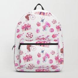 Sweet girly pink watercolor bear funfair pattern Backpack