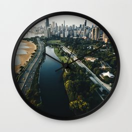 chicago aerial view of the skyline Wall Clock