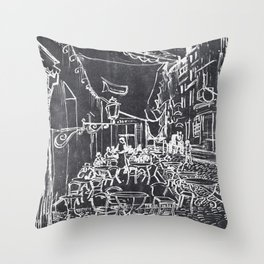 Café Terrace at Night Vincent Van Gogh in a Chalk Style Throw Pillow