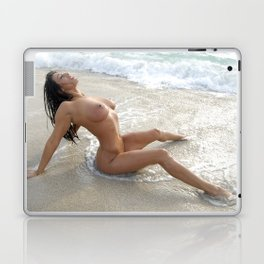 0061-SS Beautiful Naked Woman Nude Beach Sand Surf Big Breasts Long Black Hair Sexy Erotic Art Laptop & iPad Skin