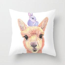 Orange Alpaca and Purple Bunny Throw Pillow