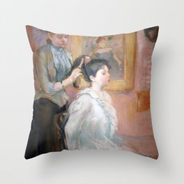 La Coiffure by Berthe Morisot Throw Pillow