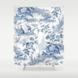 Powder Blue Chinoiserie Toile Shower Curtain