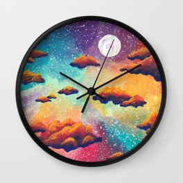Rainbow Moonlit Sky Wall Clock