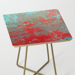 texture - aqua and red paint Side Table