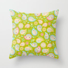 Hedgehog Paisley_Colors and Green Throw Pillow