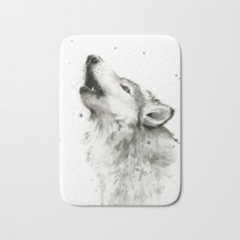 Wolf Howling Watercolor Animals Painting Black and White Bath Mat