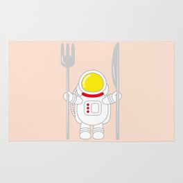 Space Odyssey | Astronaut Eats | Space Utensils | Galaxy Fork and Knife | pulps of wood Rug