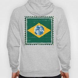 Brazil flag like stamp in grunge style Hoody