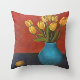Yellow Tulips in Blue Vase Throw Pillow