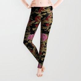 Japanese Peony Floral - Black Leggings