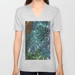 Aloha - Tropical Palm Leaves and Monstera Leaf Garden Unisex V-Neck