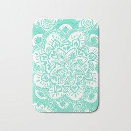 turquoise floral mandala Bath Mat