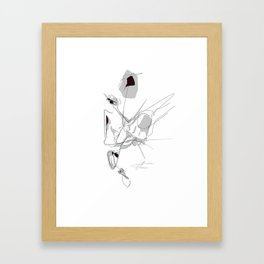 Looking left, held at the neck... Framed Art Print
