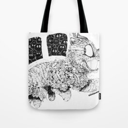 Studio Ghibli Cat Bus Black & White Zentangle Drawing Doodle Tote Bag