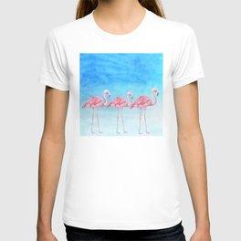 Flamingo Bird Summer Lagune - Watercolor Illustration T-shirt