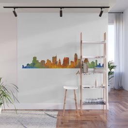 Austin Texas, City Skyline, watercolor  Cityscape Hq v1 Wall Mural