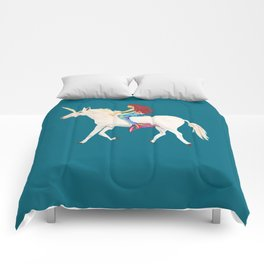 Red Haired Mermaid Rides the Unicorn Comforters