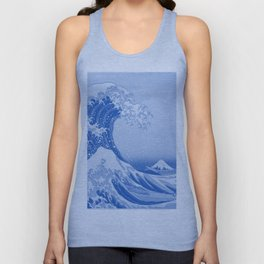 Cerulean Blue Porcelain Glaze Japanese Great Wave Unisex Tank Top
