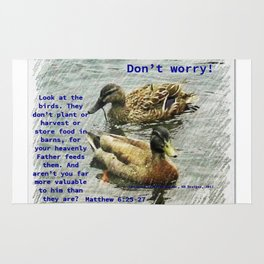 Don't worry, God cares for the birds, bible verses Rug