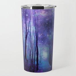 Fantasy Forest Path Icy Violet Blue Travel Mug