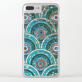 Aqua Teal Blue and Green Sparkling Faux Glitter Circles and Dots Clear iPhone Case