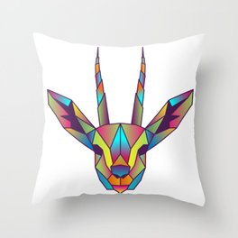 Gazelle | Geometric Colorful Low Poly Animal Set Throw Pillow