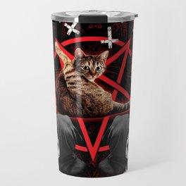 satanic cat pentagram death black metal band exorcist Travel Mug