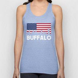 Buffalo NY American Flag Skyline Unisex Tank Top
