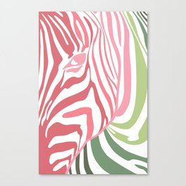 Pink And Green Zebra Portrait, Animal Photo, Large Printable Photography, Stripes Wall Art, Striped Canvas Print