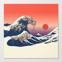 The Great Wave of Dachshunds Canvas Print