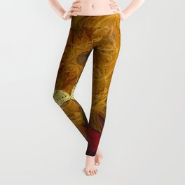 Magical fire mandala and gold butterfly Leggings