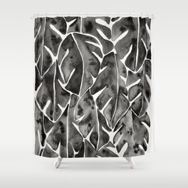 Split Leaf Philodendron   Black Shower Curtain