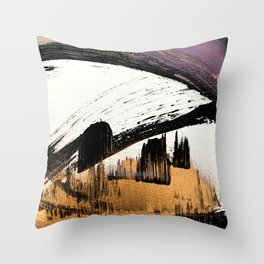 Axis [1]: a bold, minimal abstract in gold, purple, blue, black and white Throw Pillow