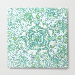 Paisley Mandala - Blue & Green Metal Print