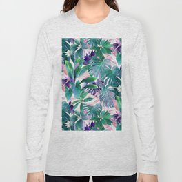Pastel Summer Tropical Emerald Jungle Long Sleeve T-shirt