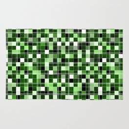 Grey, white, black, green, mint mosaic. Rug