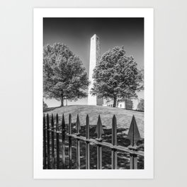 BOSTON Bunker Hill Monument | Monochrome Art Print