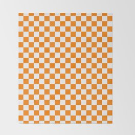 Small Checkered - White and Orange Throw Blanket
