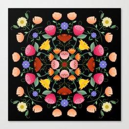 Folk Art Inspired Garden Of Fantastic Floral Delight Canvas Print