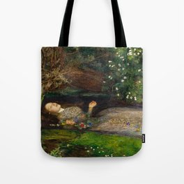 Ophelia from Hamlet Oil Painting by Sir John Everett Millais Tote Bag