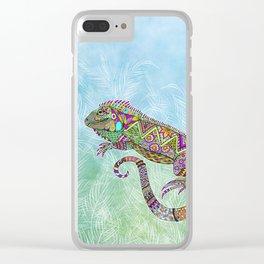 Electric Iguana Clear iPhone Case