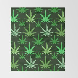 Marijuana Green Leaves Weed Throw Blanket