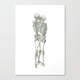 Love, kissing couple, skeleton, anatomy, human, kiss, relationship, marriage Canvas Print